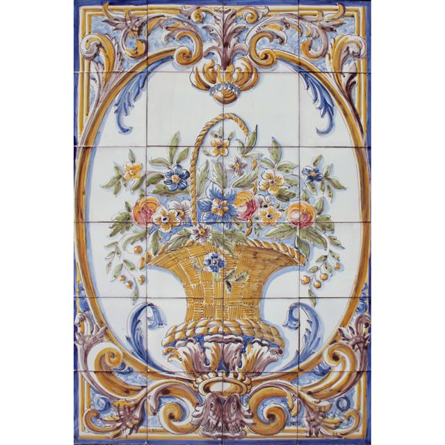 Portuguese traditional clay azulejos tiles panel mural for Clay tile mural