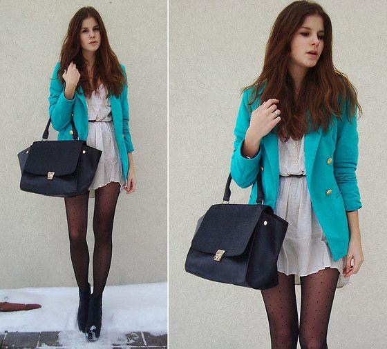 I adore blazers.: Outfits, Style, Turquoise Blazer, Blue Blazers, Colored Blazer, Colorful Blazer, Blue Blazer Love, Adore Blazers