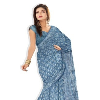 UNM3317-Corporate natural vegetable scuba blue pure tussar silk block printed saree with blouse