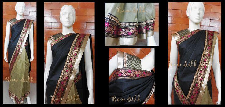 Half and half , black and khaki gold semi raw silk saree with borders.