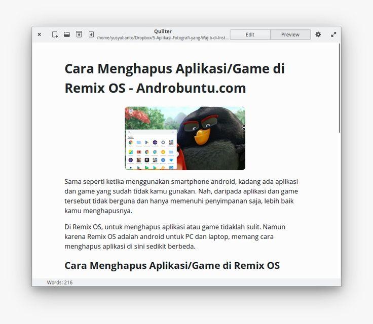 Quilter - Aplikasi Paling Asik untuk Nulis Markdown di elementary OS