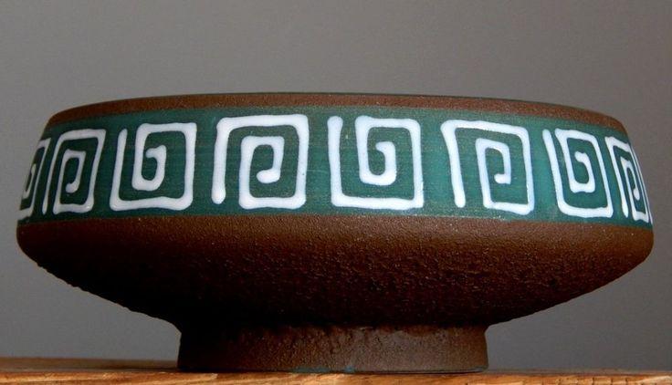 RETRO Vintage 1950 s STEULER Keramik 4291 Plate German Pottery Fat Lava Vase E
