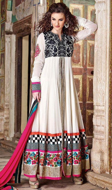 Off White Shade Net Long Length Anarkali Chudidar Suit