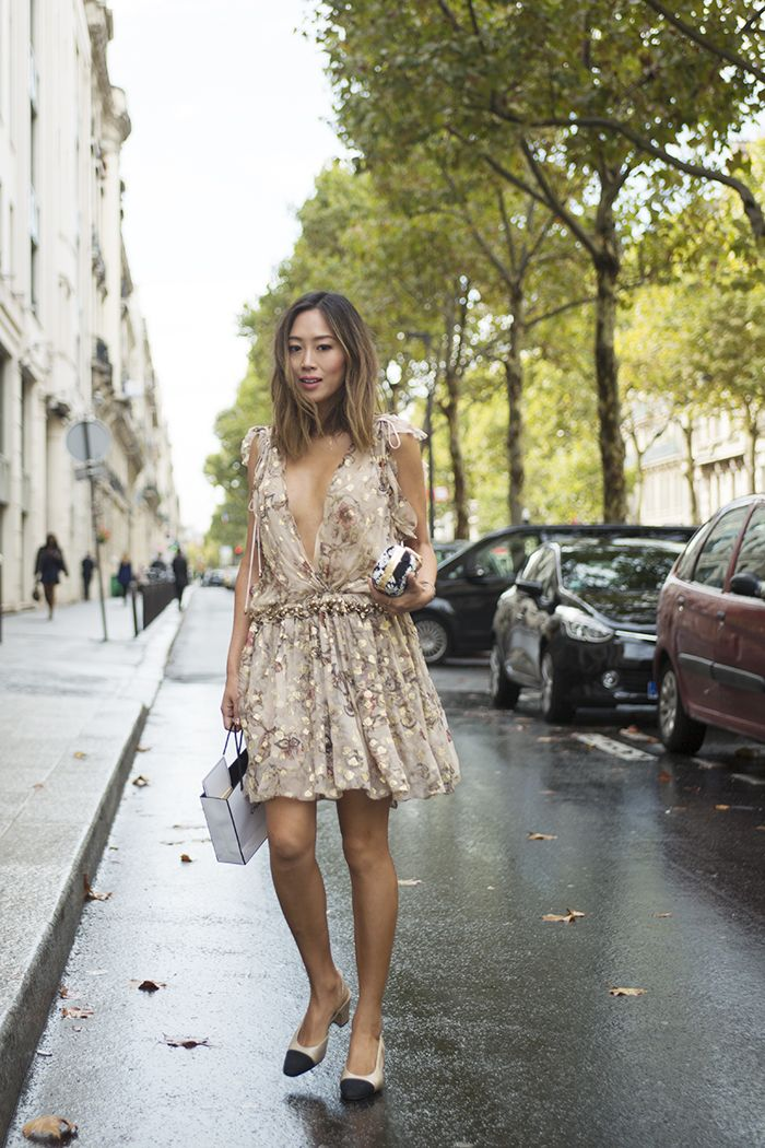 aimee_song_of_style_chloe_gold_dress_chanel_two_tone_slingbacks