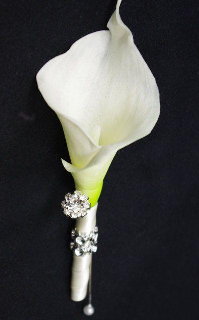 Silk Calla Lily Wedding Boutonniere Brooch Wedding by Wedideas