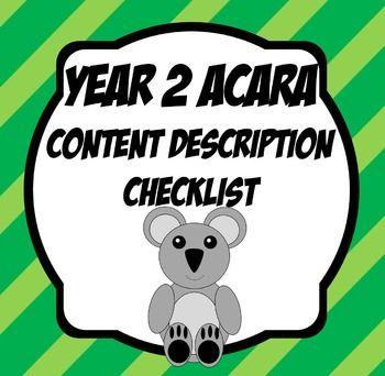 Year 2 ACARA Content Description Checklists