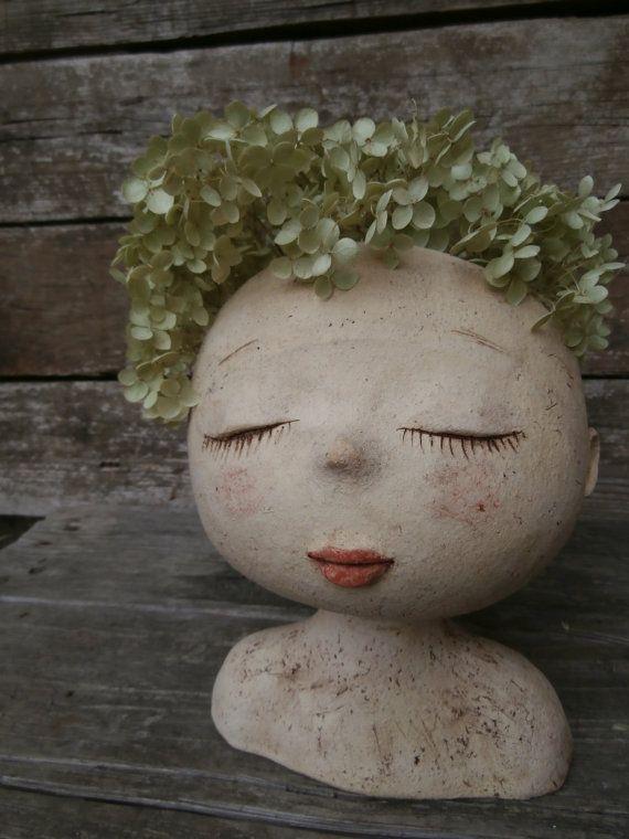 Thinking about flowers....flower pot by MargitArt on Etsy