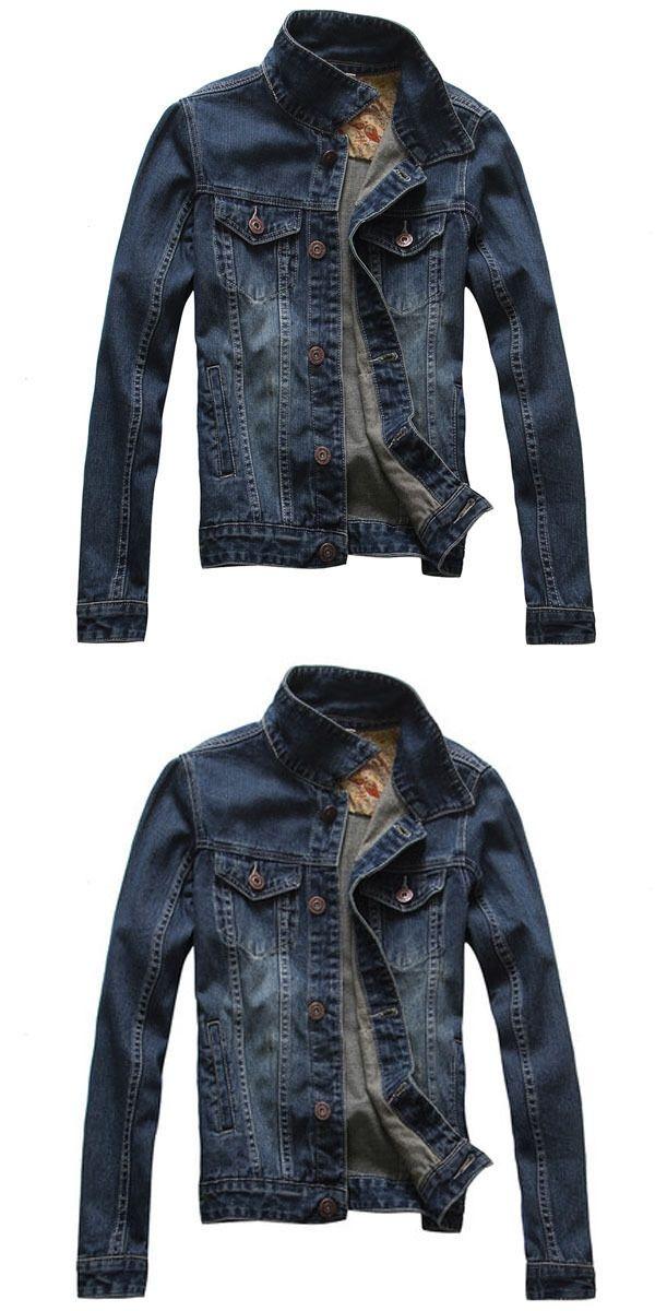 b51729a99f2 M 5Xl Men Spring Autumn Korean Slim Denim Jacket Plus Size Long Sleeves  Turn Down