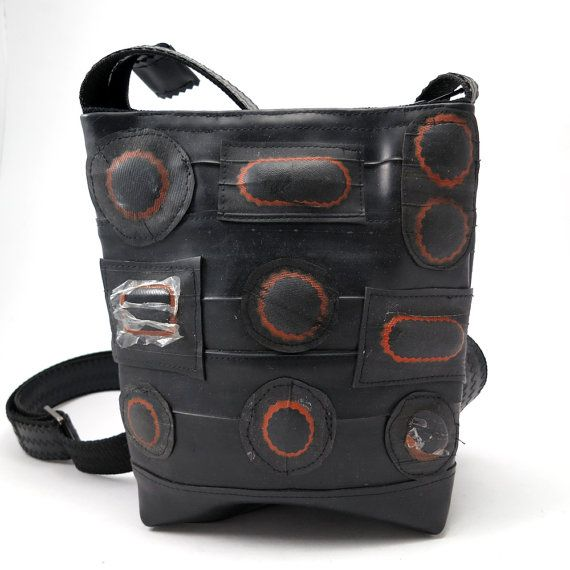 Recycled Rubber bag, recycled bike inner tube with patches, black vegan. Bicycle tube. Rubber bag. Gummi taske cykelslange.