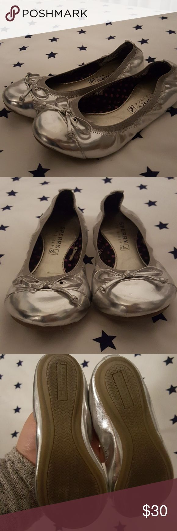 Sperry Top-sider shoes Sperry Tops in metallic silver. Size 11M for girls These were only worn for a photo shoot. Like new Sperry Top-Sider Shoes Dress Shoes