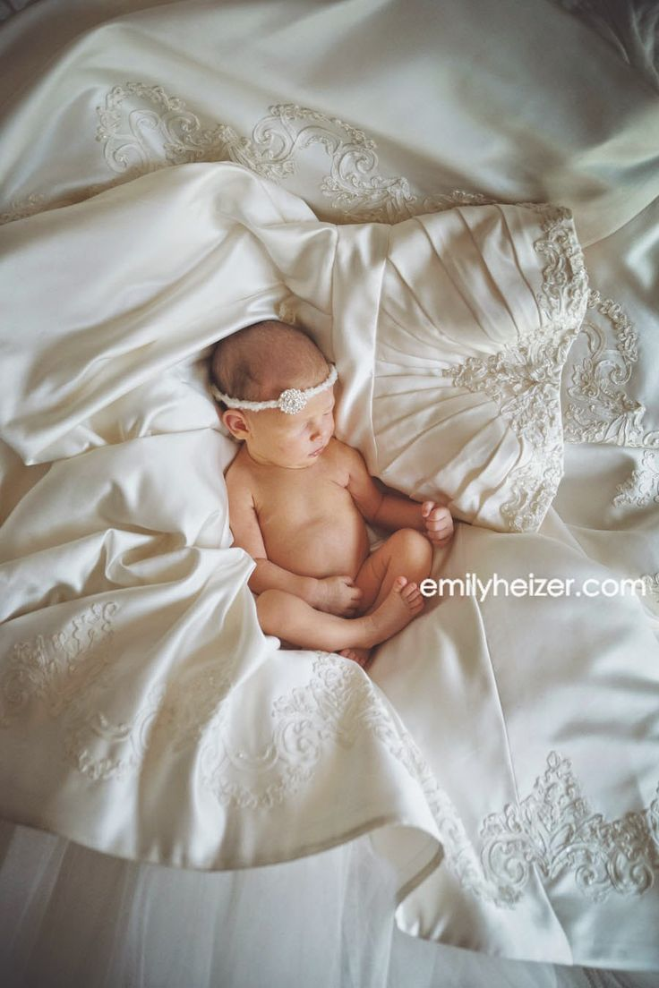 Emily Heizer Photography with Flair: Available Nation & World Wide: Newborn Photographer, Baby girl on Mom's Wedding Dress, San Francisco Baby Area