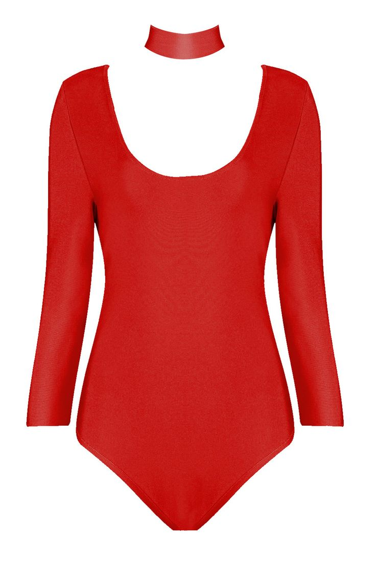 Honey Couture - Long Sleeve Red Bodysuit And Detachable Choker