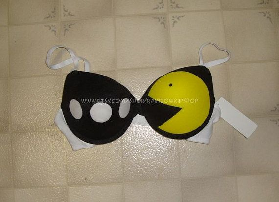Pac Man Bra  Standard Pushup Glow in the Dark by RainbowKidShop, $29.99