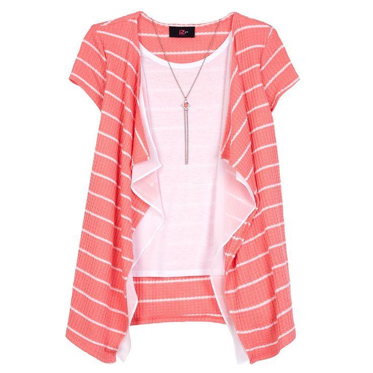 Girls 7-16 IZ Amy Byer Striped Waffle Knit Cozy Top with Necklace, Size: Medium, Lt Orange