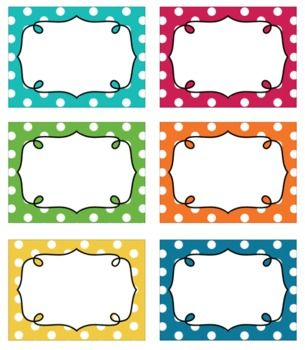 Editable Polka Dot Blank Multipurpose Tags Classroom Labels 6 Bright Colors - Julia Rother - TeachersPayTeachers.com