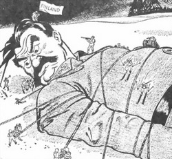 Winter War political cartoon referencing Gulliver's Travels