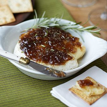 Baked Camembert with Rosemary! Made with the Roasted Garlic Onion Jam available at the GNS!