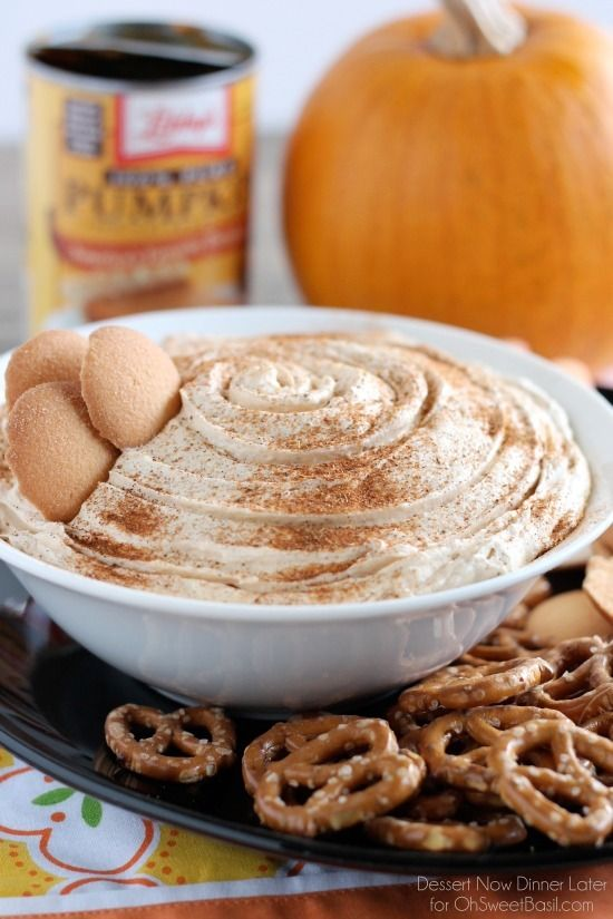 This Pumpkin Cheesecake Dip is one everyone can enjoy with their favorite cookie, pretzel, or fruit! From Dessert Now Dinner Later for OhSweetBasil.com