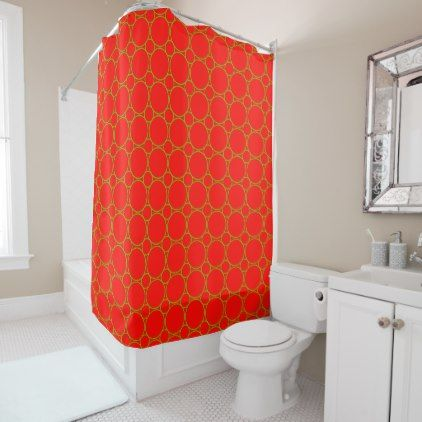 Retro Vintage Pattern Bright Green Circles on Red Shower Curtain - red gifts color style cyo diy personalize unique