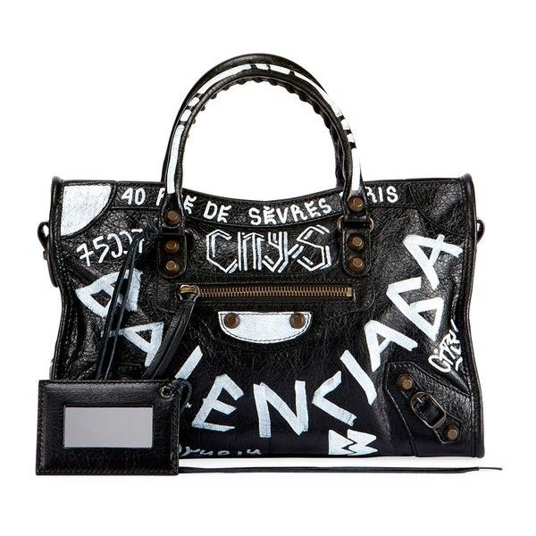 Balenciaga Classic City Aj Small Graffiti Satchel Bag ($2,190) ❤ liked on Polyvore featuring bags, handbags, black, satchels, balenciaga handbags, handbag satchel, leather totes, leather purses and leather satchel purse