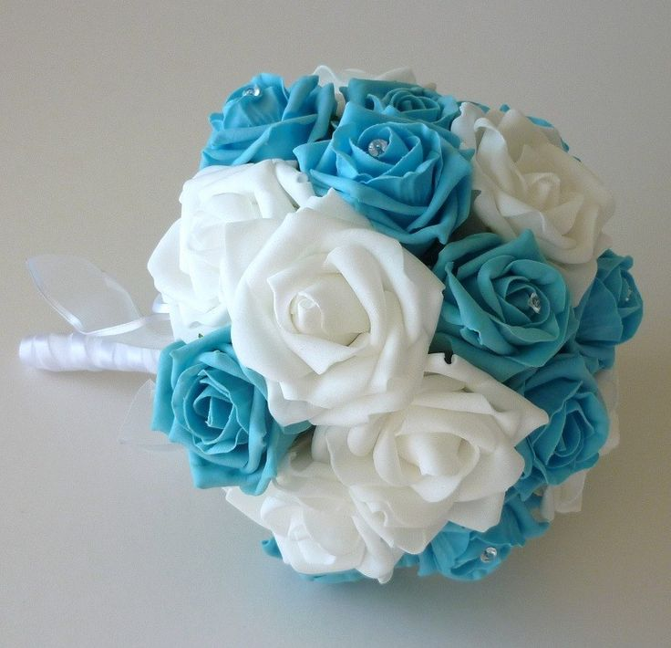 Turquoise and white brides bouquet