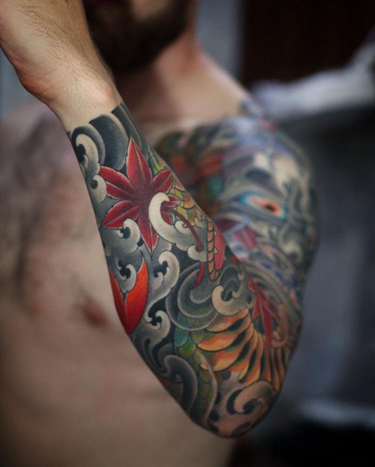 Part of foo dog sleeve immovable Irezumi tattoos