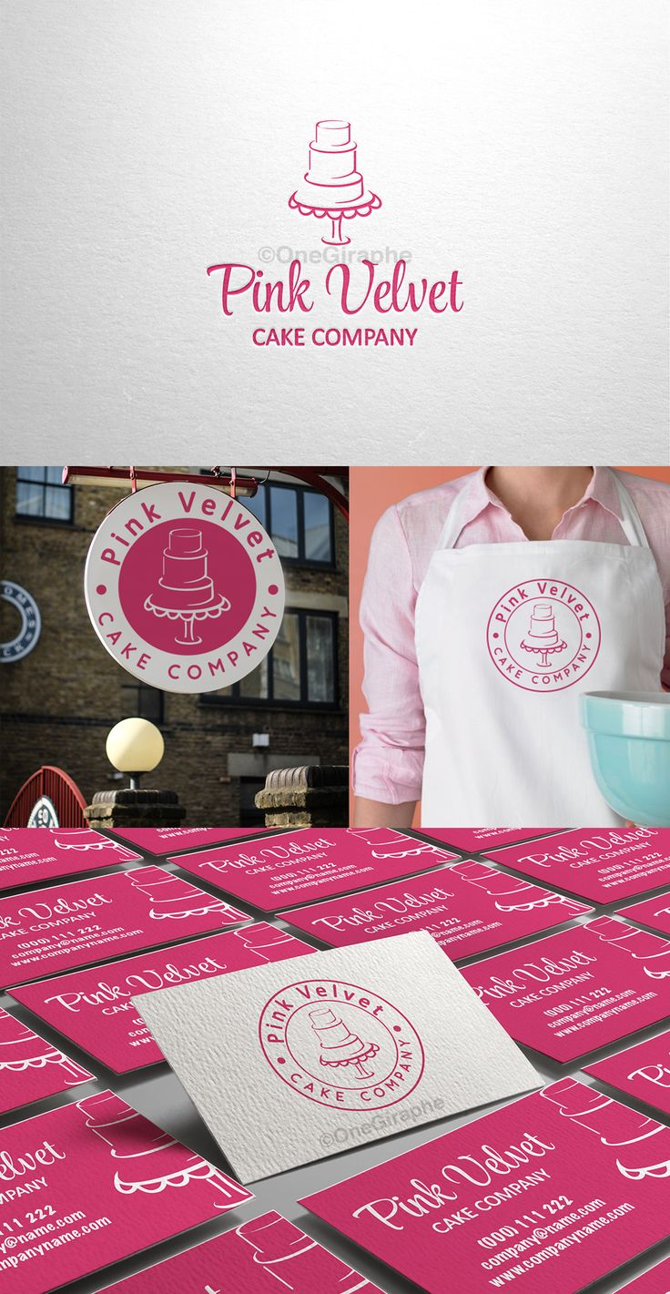 #brandidentity #logo #logodesign #bakery #cake #cupcake #pink Pink Velvet - Branding for Sale  Price: $300 .The Brand Identity package includes:  - Logo - Logo Black & White  - Badge * Logo variation can be used as watermark, stamp, gold / silver print , car branded , etc - Business Card Design ( 2 sides )   Format files: eps, pdf, png, jpg or any other at request. Order now at: onegiraphe@gmail.com