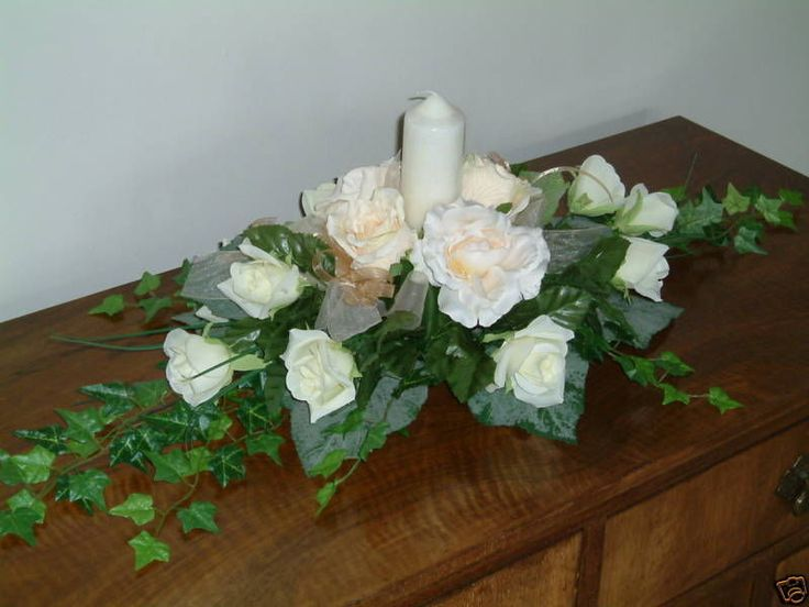 Wedding Flowers, Champagne Gold & Ivory Top Table Arrangement, Reception, Church