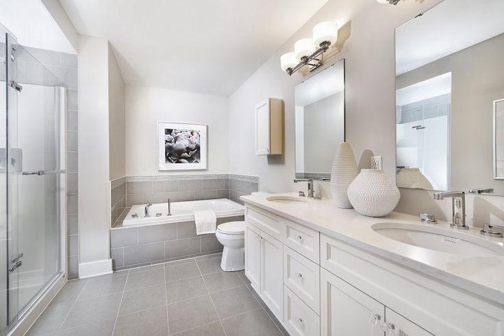 This is the ensuite bathroom in our Granite townhome model in Findlay Creek.