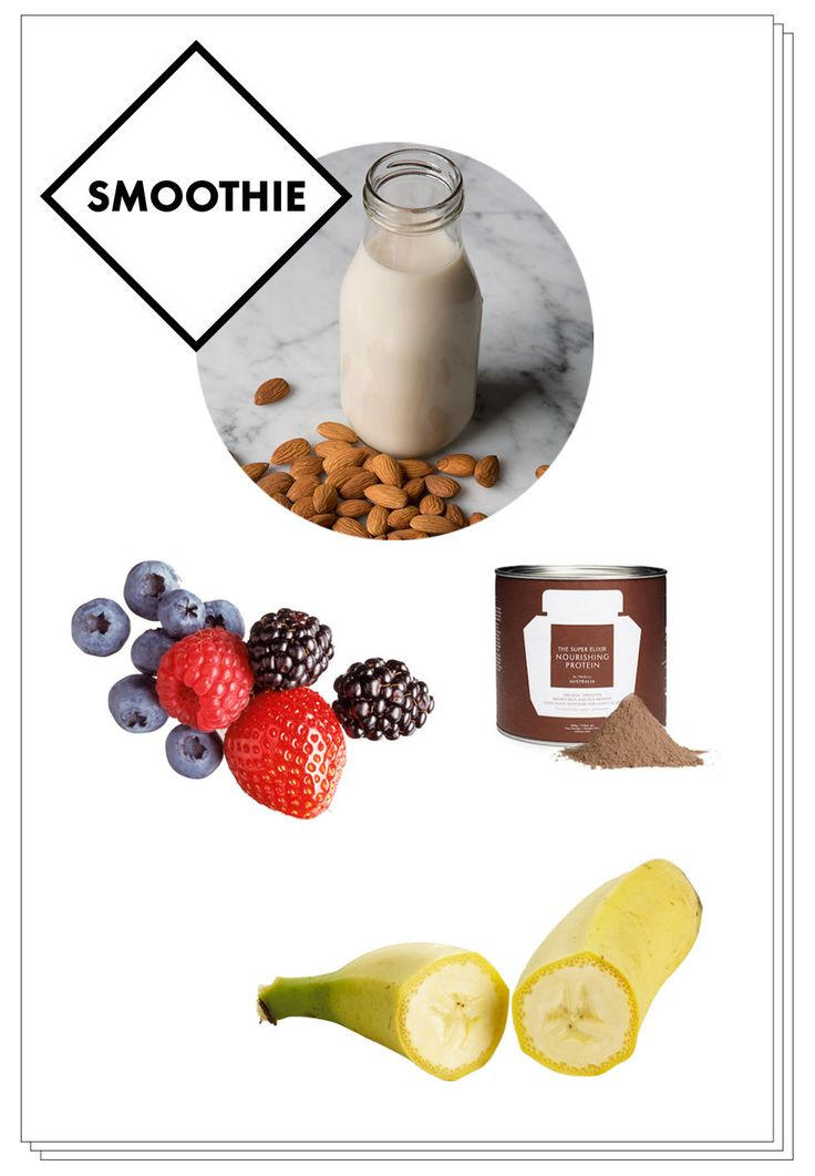Elle Macpherson Alkaline Diet - 400ml of almond milk, a scoop of WelleCo.'s plant-based Nourishing Protein, half a frozen banana, and a handful of berries