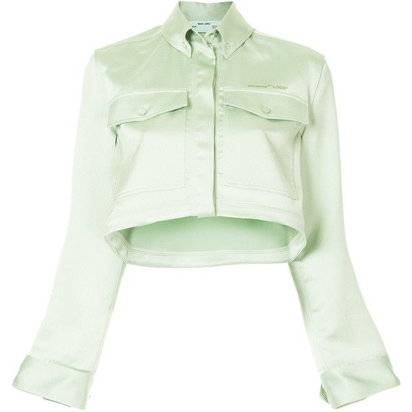 Off-White cropped jacket ($1,250) ❤ liked on Polyvore featuring outerwear, jackets, green, green cropped jacket, cropped jackets, off white jacket, long sleeve crop jacket and print jacket