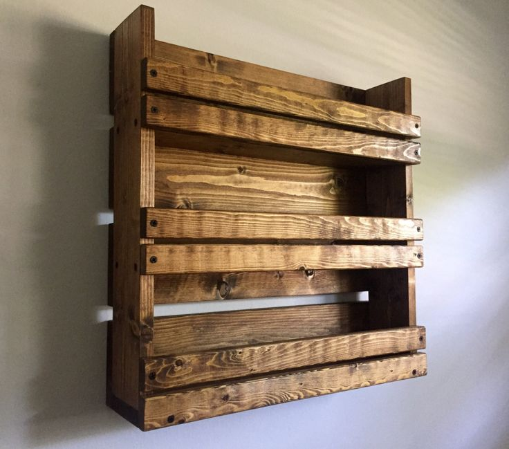 Rustic spice rack with 3 shelves/ kitchen organizer/ rustic kitchen shelves by BlackIronworks on Etsy