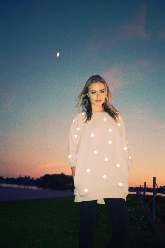 Reflective Dot Oversized Sweatshirt  Polka Dot Print Long Tunic White Cream Glow Sweater   Reflector Crewneck Jumper with Pockets