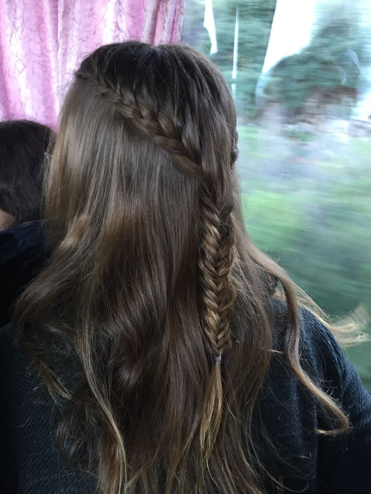 I don't really know how to call it but I really like it. There are just two French braids starting from the front of your head but while braiding take only hair from the top of your head. Until you reach the back of your head continue by braiding into a fishtail braid.  •Dbraids•
