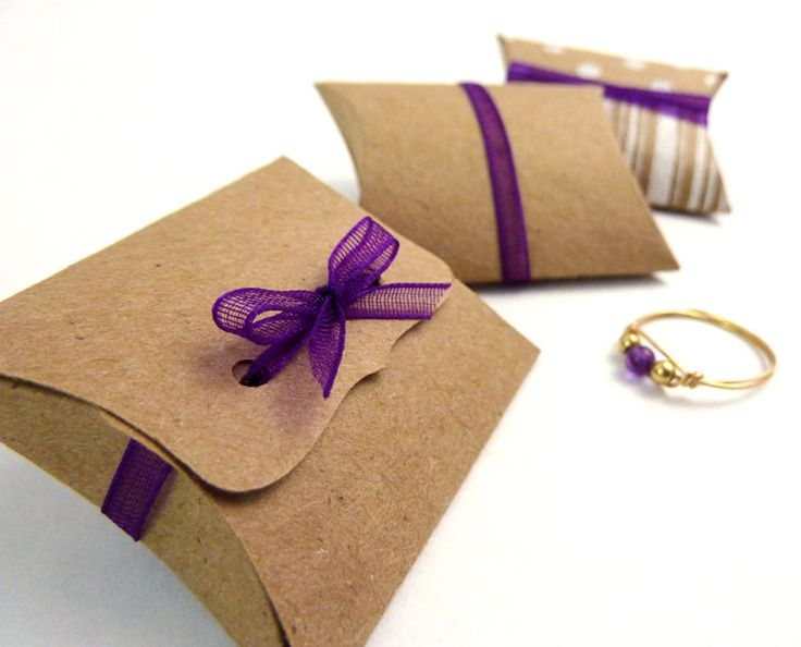 "Mini Pillow Boxes - 25 DIY Kraft favor boxes, 2"" x 1.5"" x .5"", jewelry packaging, small gift box, ribbon tie closure, unique packaging. $12.50, via Etsy."