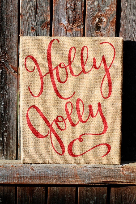 Holly Jolly Christmas Sign: Red Burlap Christmas Art
