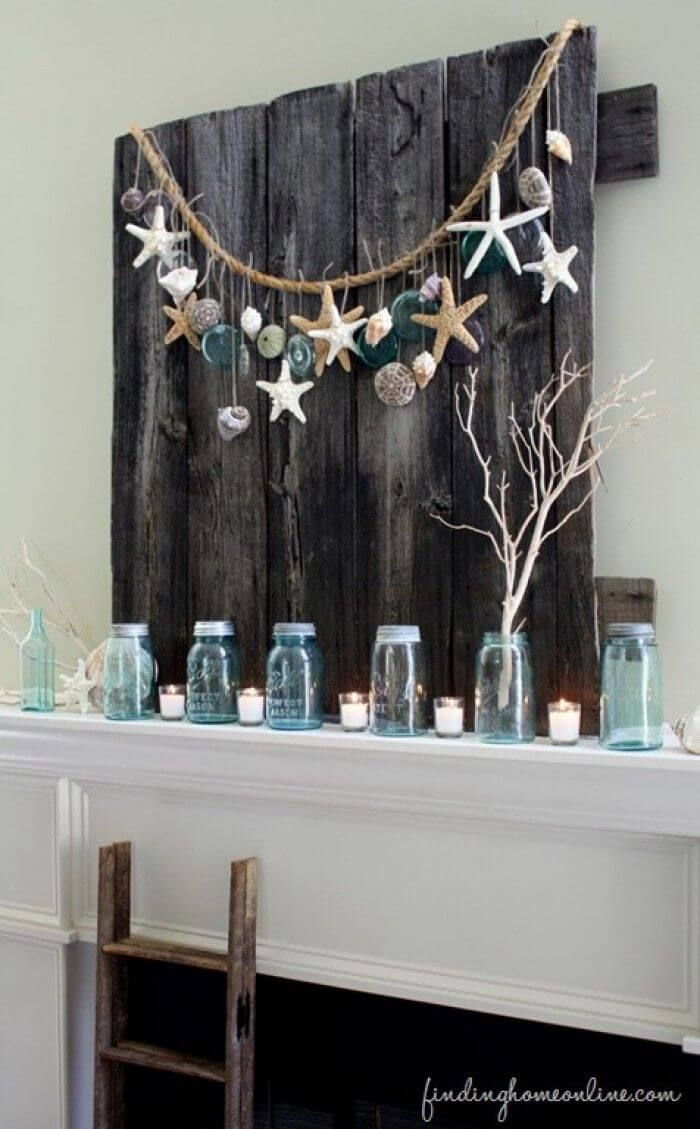 Mantle Decorations of Sea Glass and Starfish