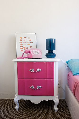 Pink and White Bedroom A nice pop of color on a simple white nightstand. I really like the pink, navy blue, and white color combo.