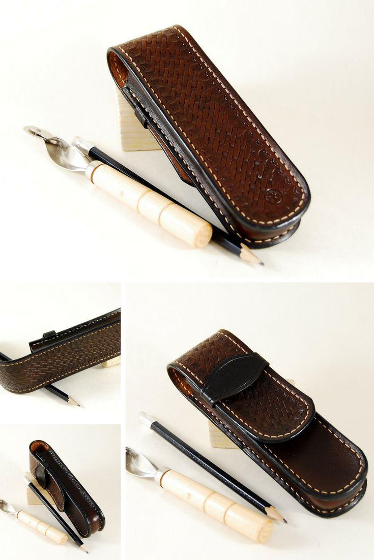 Leather pencil case handmade custom dark brown pencil pouch