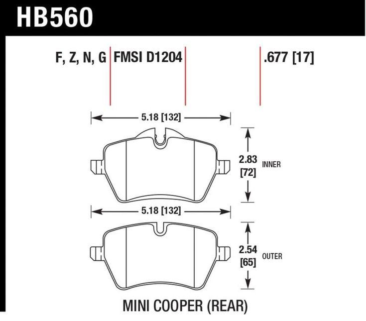 Hawk 2007-2016 Mini Cooper R53 HPS Street Front Brake Pads