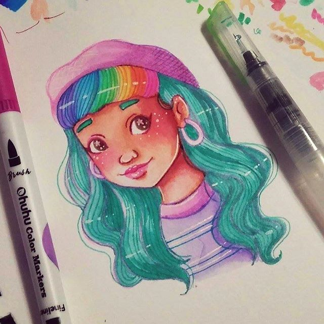 Instead Of Watercolors Decided To Use Watercolor Brush Pens For