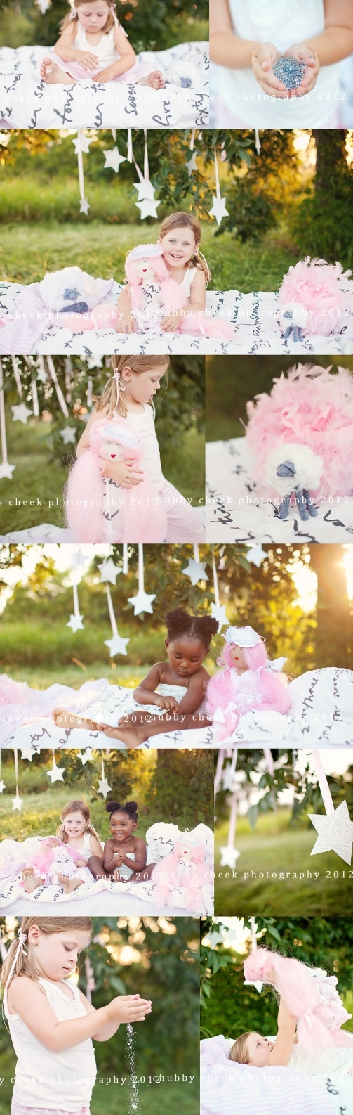 Simple and nice set.....grab a blanket, hang some stars and let the girls play!