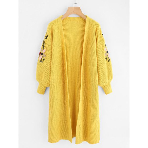 SheIn(sheinside) Balloon Sleeve Slit Side Embroidered Cardigan ($22) ❤ liked on Polyvore featuring tops, cardigans, yellow, long sleeve tops, cocoon cardigans, long cardigan, embroidered cardigan and long sleeve cardigan