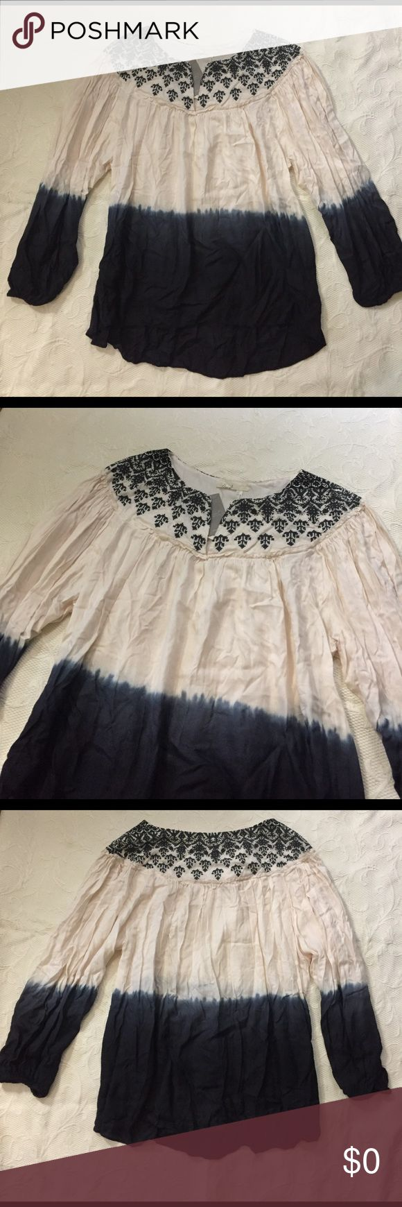 Floreat Dip Dye Blouse Embroidered yoke tie dye hombre peasant blouse. Never worn, new with tags. No trades. Anthropologie Tops Blouses