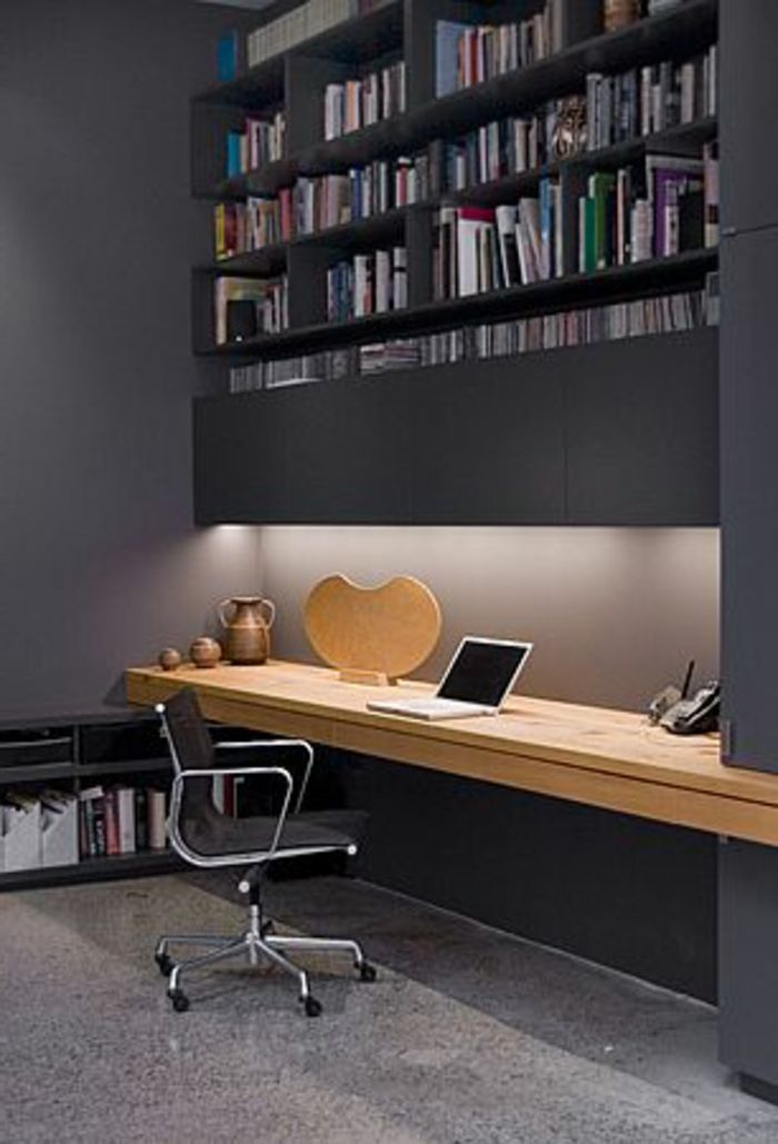 Meuble Informatique Gris Murs Bureau En Bois Chaise Bureau Home Office Design Office Interior Design Modern Office Decor