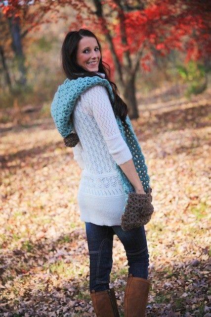 Blue Dream Scarf Hoodlet with Pockets Crochet Pattern PDF