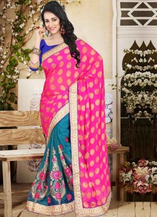 Awesome Pink Rama Green Embroidery Work Net Jacquard Half Party Wear Sarees http://www.angelnx.com/Sarees/Party-Wear-Sarees