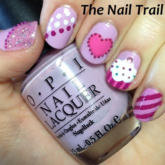 valentine Manicure Lavender and Pink Hearts 3