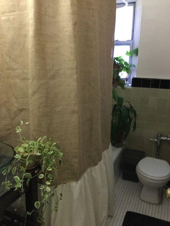 Burlap Shower Curtain, Natural Burlap/Muslin Shirred/Gathered Bottom Shower Curtain, Farmhouse Country Rustic Shower Curtain