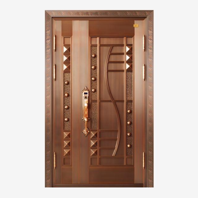 Luxury Copper Door Wood Classic Style Door Front House Png